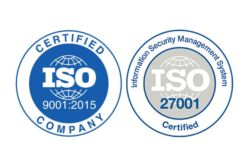 Pridobili smo certifikata ISO 9001 in ISO 27001