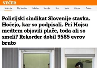 Policijski sindikat Slovenije stavka. Hočejo, kar so podpisali. Pri Hojsu medtem objavili plače, toda ali so smeli? Rekorder dobil 9585 evrov bruto